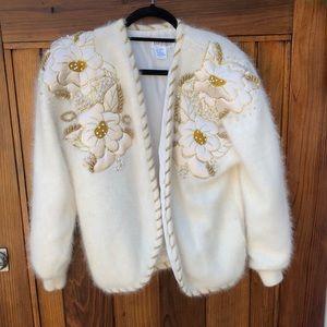 Vintage beaded angora cardigan